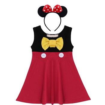28a0c61ebd 2 piezas Minnie Mouse ropa conjunto para bebé niños niñas Cosplay fiesta Minnie  Mouse vestido diadema niños niñas pastel de cumpleaños smash