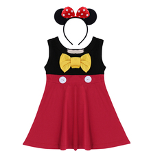 2pcs Minnie Mouse Clothes Set for Baby Kids Girls Cosplay Party Dress Headband Cute Birthday Cake Smash Outfit