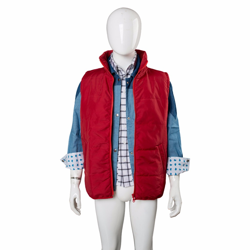 87bb380a53b8a3 Movie Back To The Future Cosplay Costume Jr Marlene Seamus Marty McFly  Jacket Outwear Coat Cosplay