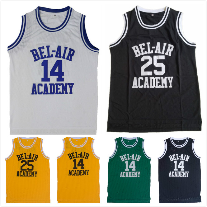 Will Smith The Fresh Prince of Bel Air Academy Basketball Jersey Movie American Throwback Sleeveless Jerseys 14# 25#