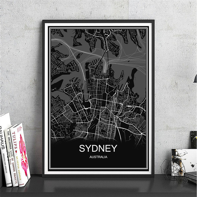 Hot sale sydney abstract print picture world map oil painting hot sale sydney abstract print picture world map oil painting modern city poster canvas coated paper gumiabroncs Images