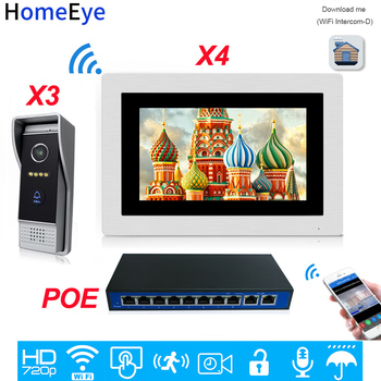 720P WiFi IP Video Door Phone Video Intercom 3 to 4 POE Home Access Control System Android IOS Phone Remote Unlock Touch Screen mobile wifi video door phone video intercom system wireless door control wireless remote control video door phone