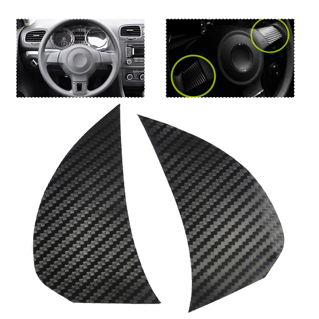 CITALL 2Pcs Car Real Carbon Fiber Black Steering Wheel Cover Trim fit for VW Volkswagen Golf6 Polo Bora 2011