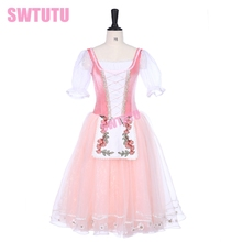 Pink Ballet Tutu Dress Peasant Girl Giselle Maid Girls Romantic Professional For AdultsBT9239