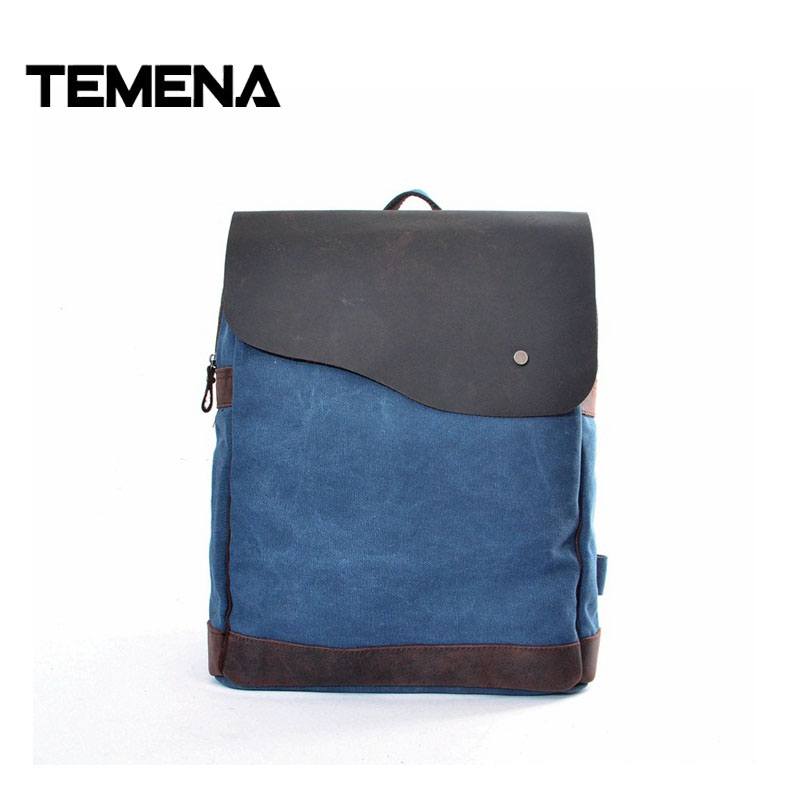 Temena New Fashion Men's Backpack Vintage Canvas Bag High Quality Travel Bag Women Large Capacity Crazy Horse Leather Bag ABP398 high quality authentic famous polo golf double clothing bag men travel golf shoes bag custom handbag large capacity45 26 34 cm