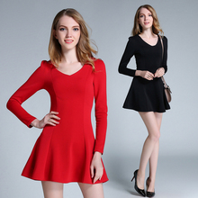 Autumn Winter Plus Size Full Sleeve Corset Dress Space Cotton Keep Warm One Piece Women Cute Slim Mini Bottoming Dress