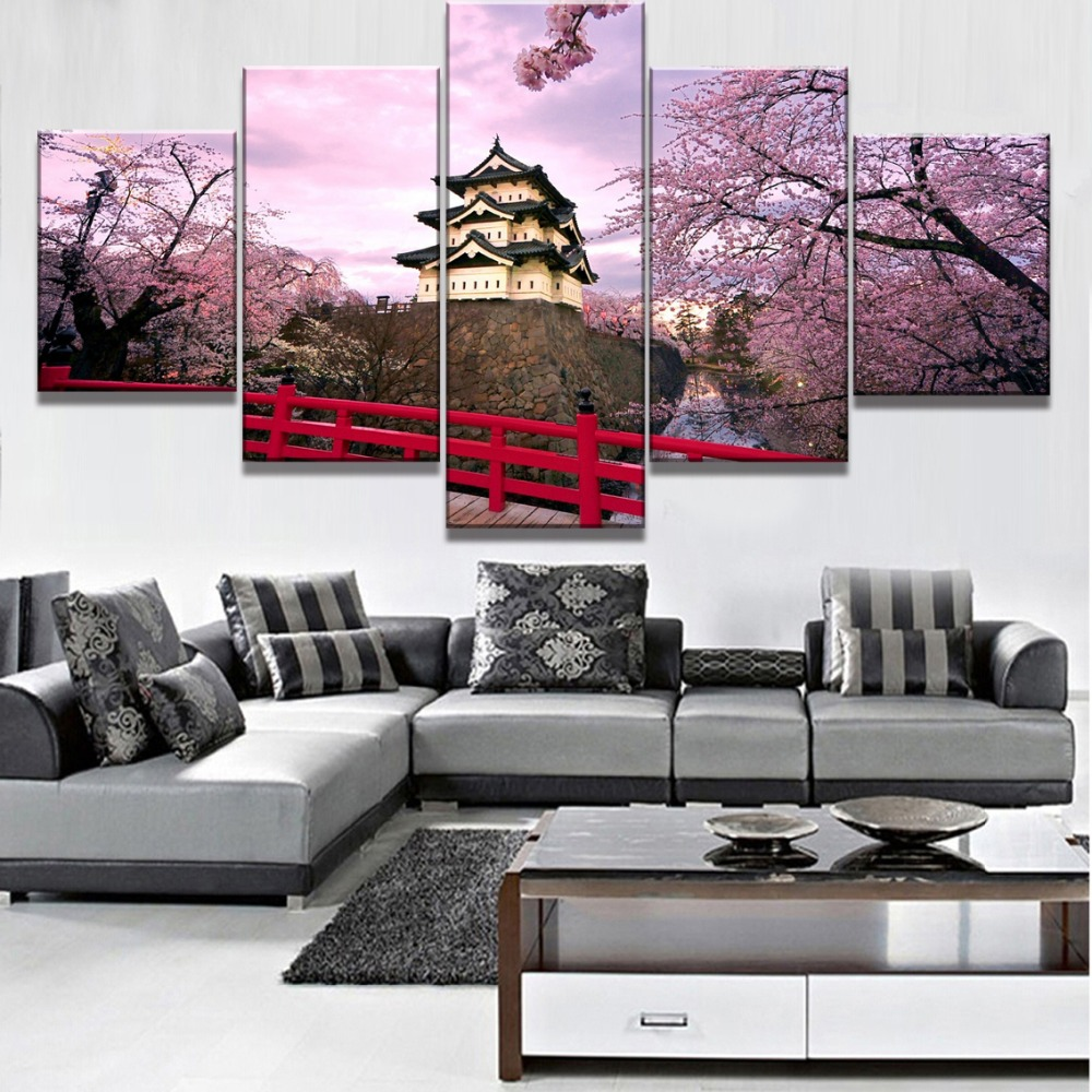 HD Printed Modular Pictures Canvas Modular Framework 5 Panel Cherry Blossom Poster Home Wall Art Decorative Painting