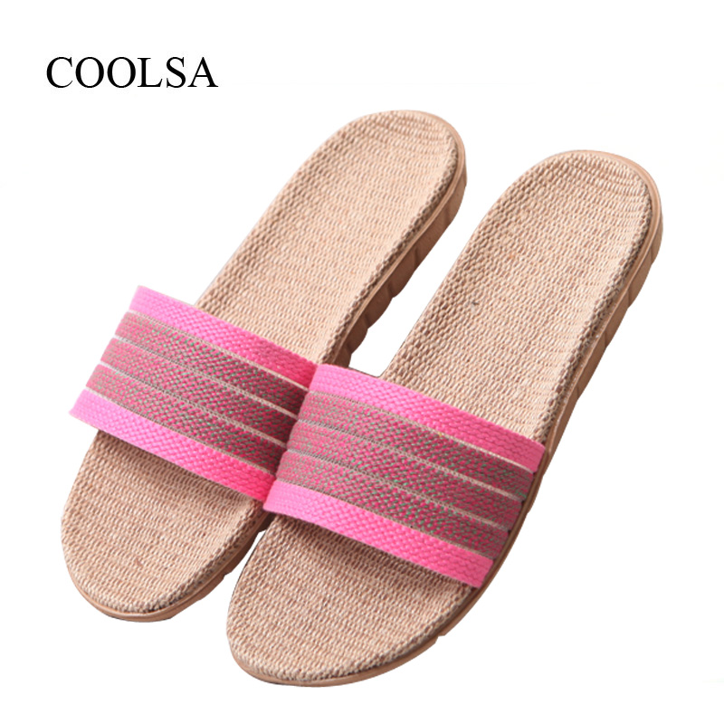 COOLSA Women's Hollow Canvas Flat Flax Slippers Indoor Non-slip EVA Linen Slippers Women's Beach Flip Flops Women Fashion Slides coolsa women s summer striped linen slippers breathable indoor non slip flax slippers women s slippers beach flip flops slides