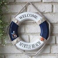 Heiße Verkäufe Mittelmeer Blau Dekorative Holz Rot Rettungsring Figuren Wandbehang Nautischen Meer Abbildung Innendekoration