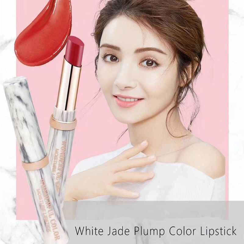 แต่งหน้าสีขาวหยก Marble Matte ลิปสติก Waterproof Long Lasting Velvet Lip Stick Pigment Nude Make Up Dropship