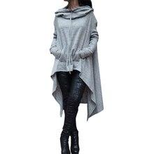 Новинка 2017 Горячие Для женщин модная одежда с длинными рукавами толстовки с капюшоном одежда пуловер Повседневное карманы Твердые Асимметричный Длинные кофты