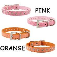 Adjustable diamond-decorated PU dog collar / necklace