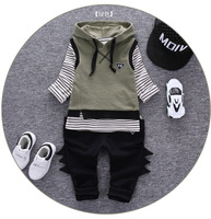 Infantis Children's spring autumn baby Boys tops tees long sleeve t shirt +pants+Vest with hat 3pc/set ,kids Clothes 1-3year