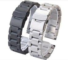 Promoción Negro Venda de Reloj de Acero Inoxidable Para Hombre de La Correa Correas de Pulsera de Metal 18mm 20mm 22mm 24mm para hombre correas de reloj de alta Calidad