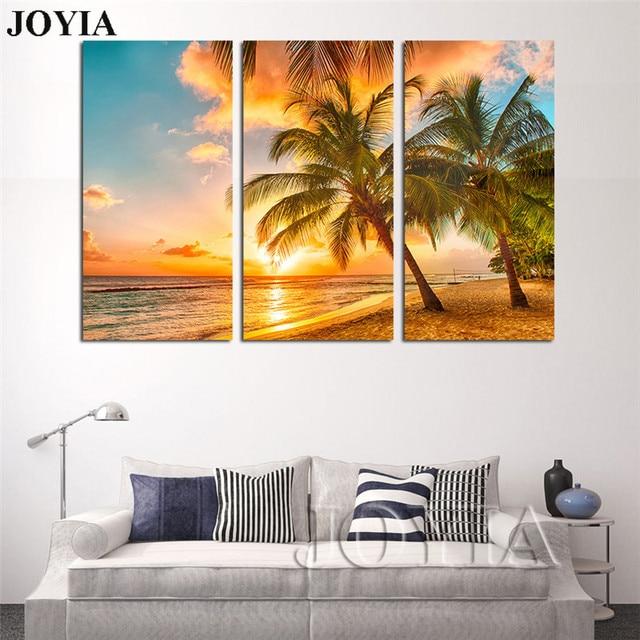 Pantai Lukisan Gambar Tiga Untuk Ruang Tamu R Tidur Sea Sunset Pohon Kelapa Dinding Art