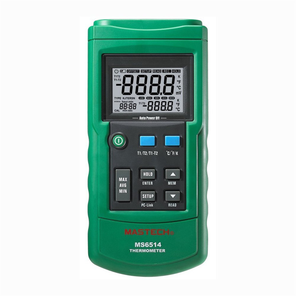 2017 MASTECH MS6514 Dual Channel Digital Thermometer Temperature Logger Tester USB Interface 1000 Sets Data KJTERSN Thermocouple ms6514 dual channel digital thermometer temperature logger tester usb interface 1000 sets data kjtersn thermocouple with box