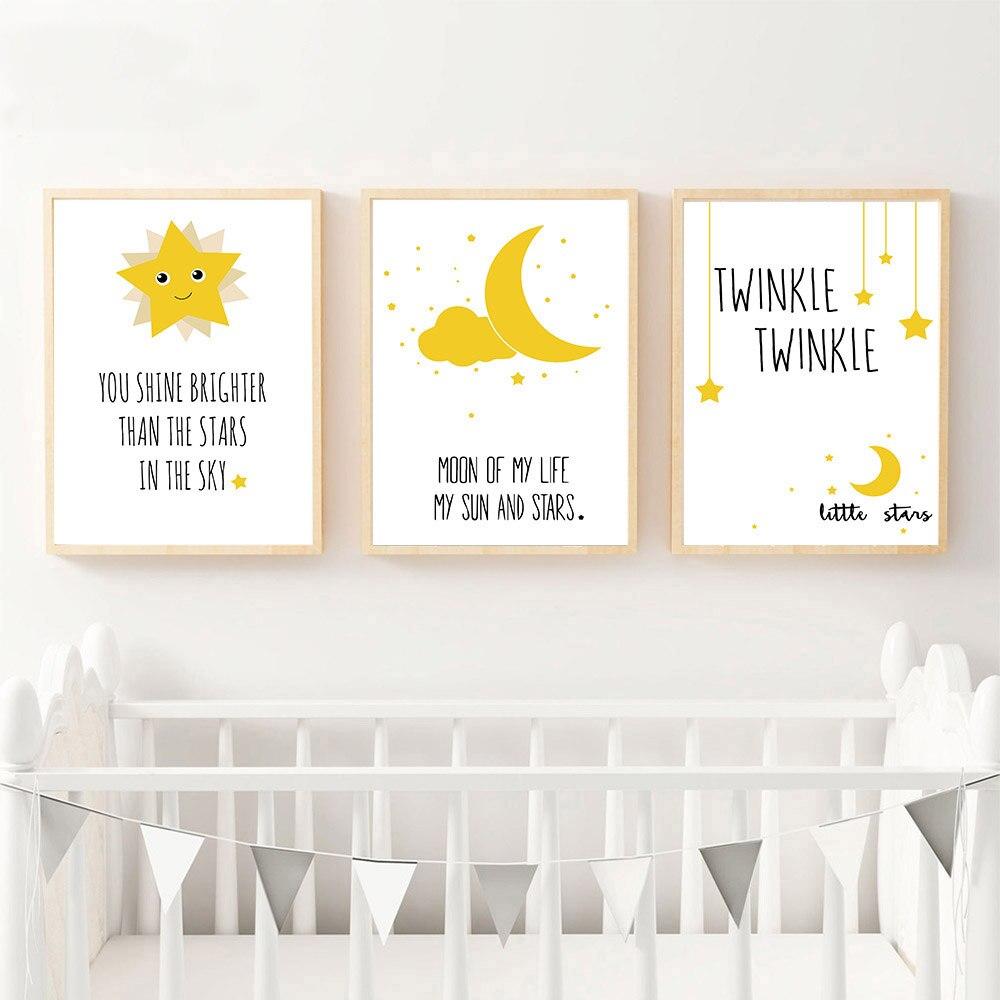 Moon And Stars Personalised A4 Nursery Print Nursery Wall Art