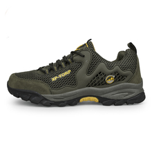 2016 Climbing Shoes Men Hiking Summer Men Shoes Outdoor Gray/Army green Men Walking Shoes Breathable Outdoor Men Size 39-44