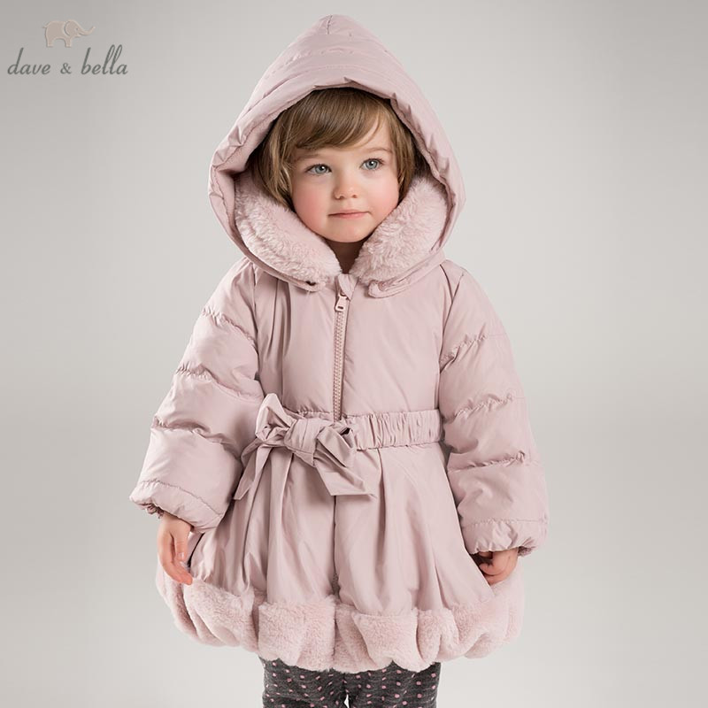 DB6932 dave bella winter baby girls down jacket children padding coat kids hooded outerwear