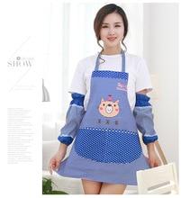 1SET Cute Bib Apron Dress Bear Apron 2 Pocket with Cuff Waterproof Anti-oil Aprons Kitchen Cooking Waist Bib for Women ND 011