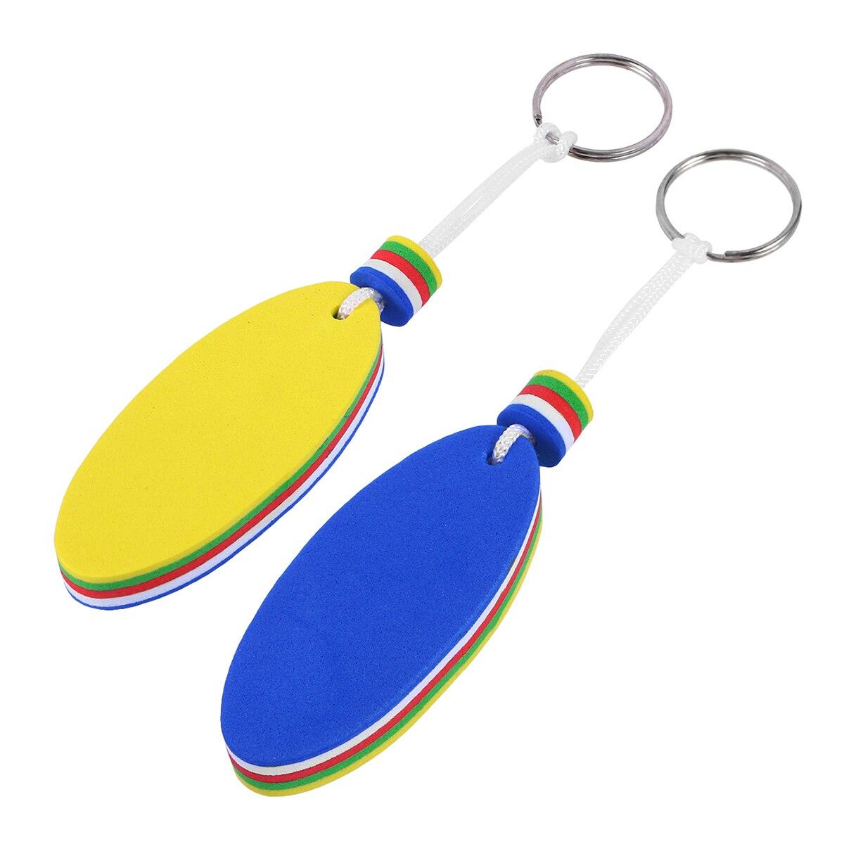 2pcs Oval EVA Floating Key Ring Beads Keychain Fishing Rafting Boating