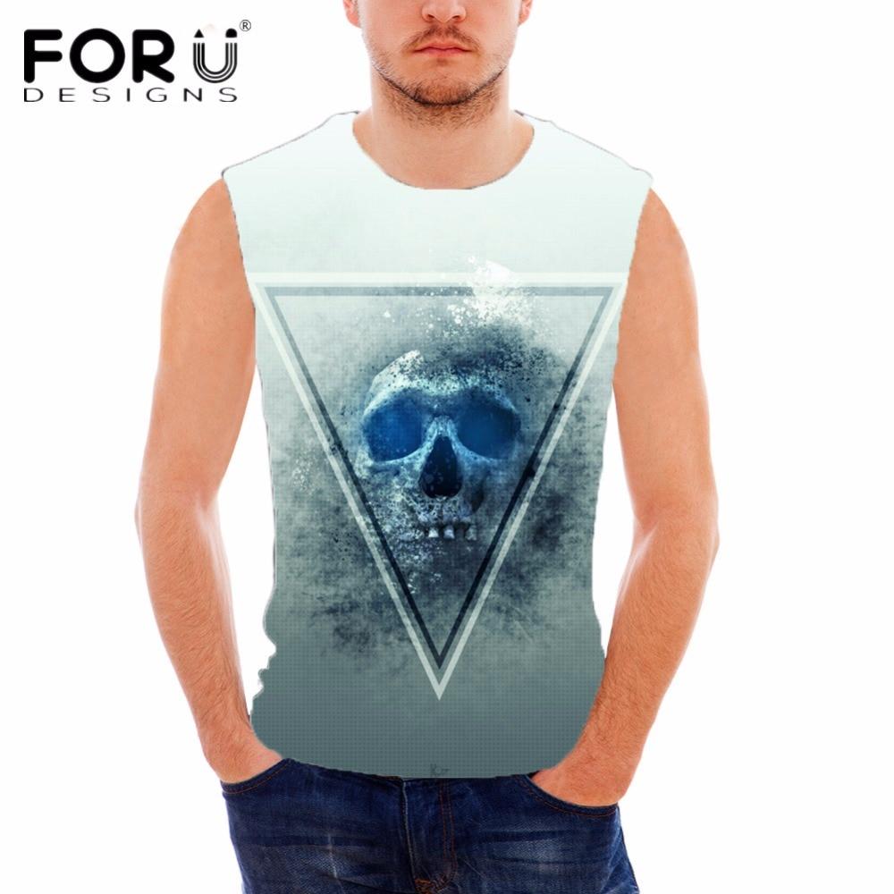 FORUDESIGNS Punk Skulls Designer Cotton Tank Top para hombre de - Ropa de hombre - foto 5