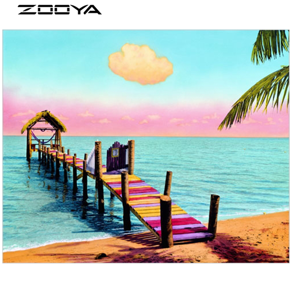 ZOOYA DIY Diamond Painting Cross-Stitch Wall Stickers Landscape Lake Cottage Wooden Bridge Christmas Decorations For Home AT1275