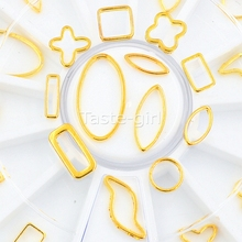 12 Style 3D Metal Gold Hollow Circle oval Square Rectangle Star Shaped Beauty Nail Art Tips Jewelry Decoration Accessories Tool