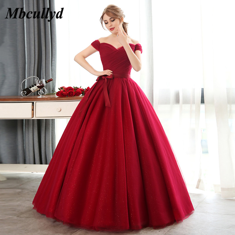 Detail Feedback Questions about Mbcullyd Red Quinceanera Dresses 2019 Off  Shoulder Sweet 16 Long Floor Length Pageant Dress Prom Vestidos De 15 Anos  Custom ... fa68f389c537