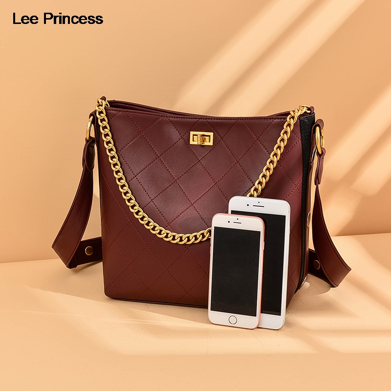 Lee Princess Vintage Composite Bag Women Handbag Split Leather Lattice Chains Handle Girl Ladies Luxury Shoulder Bags For Womens