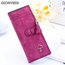 2019 luxury brand designer long hasp women wallet clutch leather tassel zipper purse with Umbrella card holder Coin Money Bag(China)