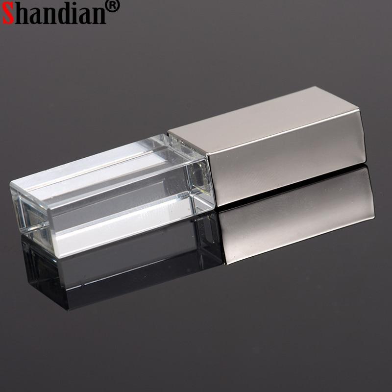 """Shandian """"crystal Usb Sticks 3d Print Custom Logo 10pcs/lot 4gb 8gb 16ggb 32gb 64gb Usb Flash Pendrive Transparent Glass"""""""