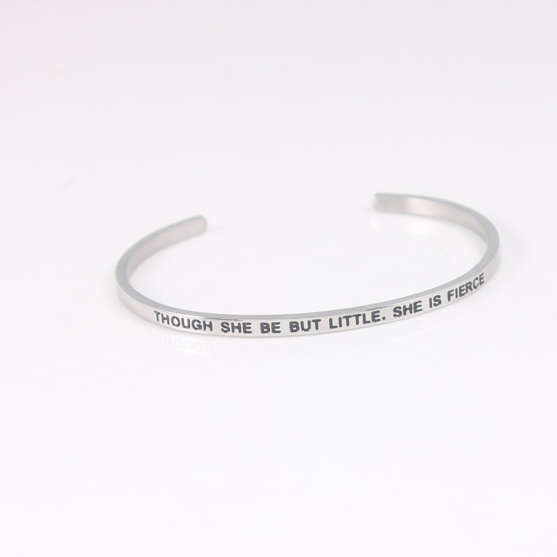 316l Stainless Steel Bar Engraved Positive Inspirational Quote Cuff Mantra Bracelet Bang ...