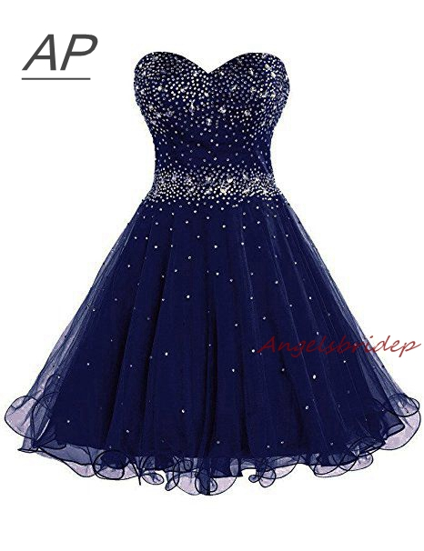 ANGELSBRIDEP Sparking Beading Homecoming Dress Vestido De Formatura Curto Sweetheart Organza Short Graduation Dresses Lace up