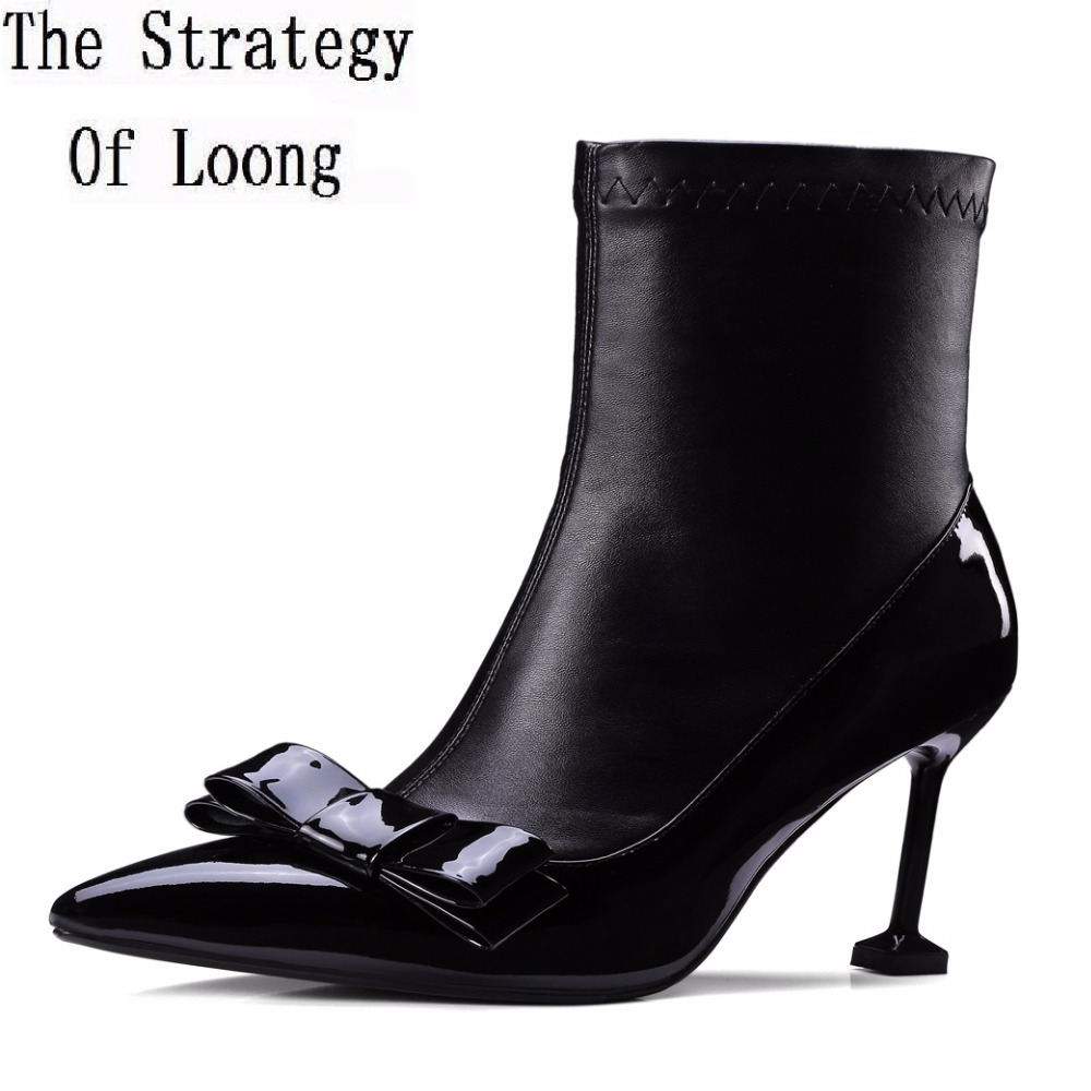 Winter Women Thin Heel High Top Real Leather Boots Fashion Pointed Toe Butterfly-Knot Short Plush Super High Ankle Boot ZY170908 new winter sexy high quality women butterfly high heel pointed boots exquisite beautiful wing ankle boot female banquet paty boo