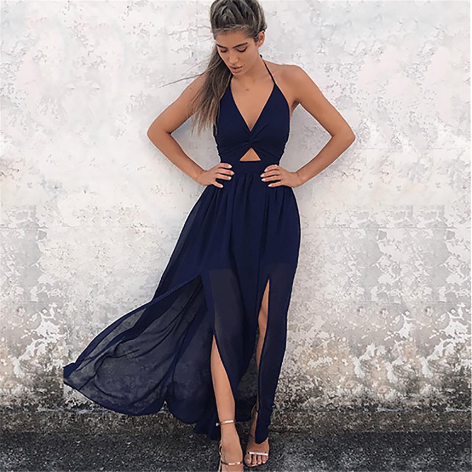 2fcb8ed4e4d6b Summer Halter Bow Female Beach Dress 2019 Spring Ladies Print Chiffon Dress  Casual Sexy Sleeveless Women Long Maxi Sundress