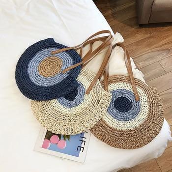 2019 Round Straw Bags Women Summer Rattan Bag Handmade Woven Beach Cross Body Bag Circle Bohemia Handbag Bali bolso paja 1