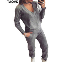 TAOVK Womans Wool Warm Knitted Suit trackSuit V Neck Pullover Sweater Set Trousers Plus Size Knitwear sports suit sexy two piece