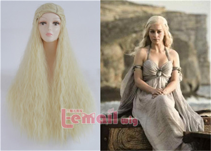Beautiful Game Of Thrones Daenerys Targaryen Cosplay Wigs Long Blonde Rhapsody with Braided Hair Back