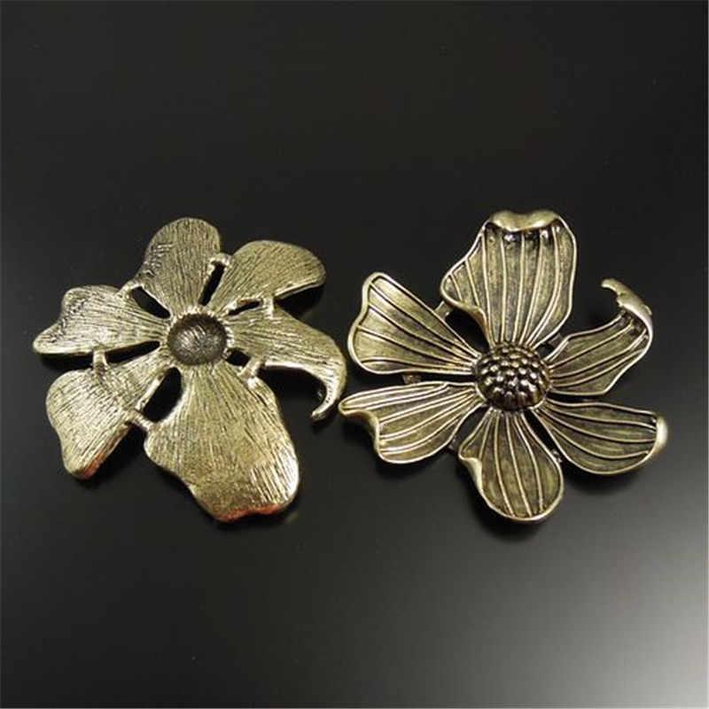 GraceAngie 5 ชิ้น Antique Bronze โบราณ Tone Alloy ดอกไม้จี้ Charms เครื่องประดับทำ 54*48 มิลลิเมตร (32045)