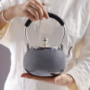 Tea-Set Water-Kettle Manual-Production Kung-Fu Pure-Silver 999-Do-Old-Burn Beam-Pot Office-Gift-Collection