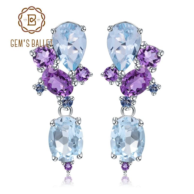 GEM S BALLET 925 Sterling Silver Colorful Modern Irregular Earrings Natural Blue Topaz Amethyst Stud Earrings