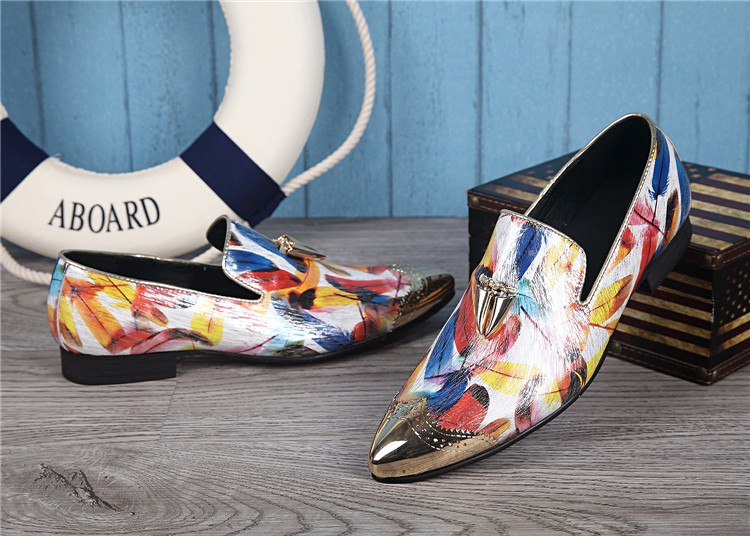Design Pointed Toe Slip On Men Loafers Print British Style Flats Wedding Shoes Big Size 38-46 Bowtie Party Men Oxfords Shoes pointed toe tassel leather shoes men slip on brogue shoes flats british style rivet shoes casual loafers chaussure homme 022