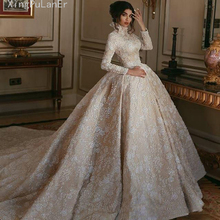 Luxury High Neck Champagne Middle East Vintage Wedding Dress White Lace Appliqued Long Sleeves Arabic Bridal Gowns Court Train