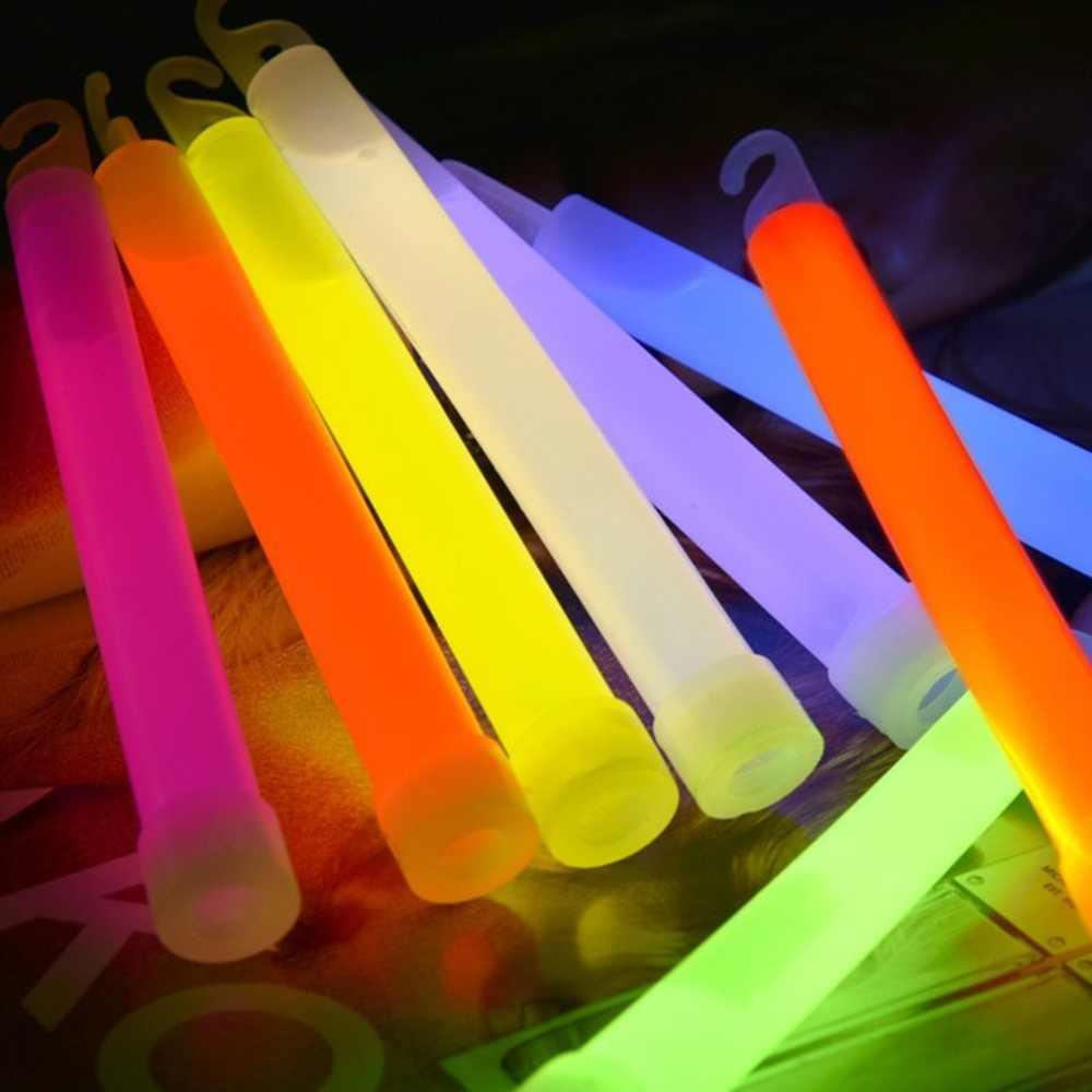 Varitas de plástico LED de 6 pulgadas bastones para animación Rave de fiesta con gancho para acampar