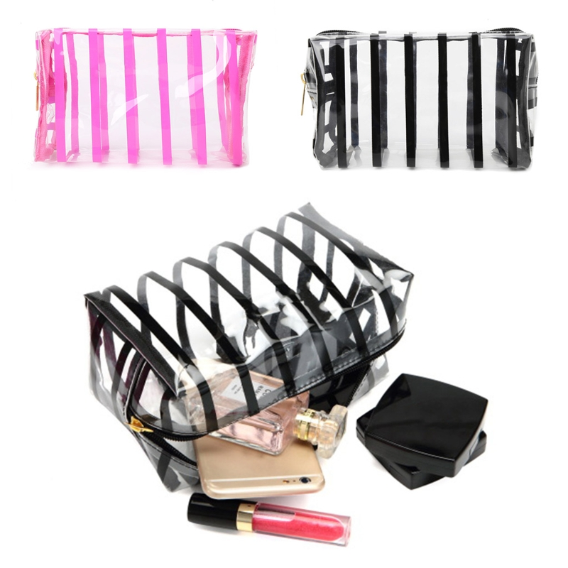 THINKTHENDO Women Travel Makeup Clear Cosmetic Bag Toiletry Stripe Transparent Storage Pouch Pink/Black New PVC Casual Handbags thinkthendo women fashion clear cosmetic bags pvc toiletry casual storage holders organizer pencil case
