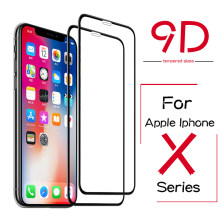 9D Tempered Glass untuk Apple iPhone X XS Max XR Pelindung Layar Ipfone Iohone Ihpone Ifone XS Smax X R 9H Full Cover Kaca(China)