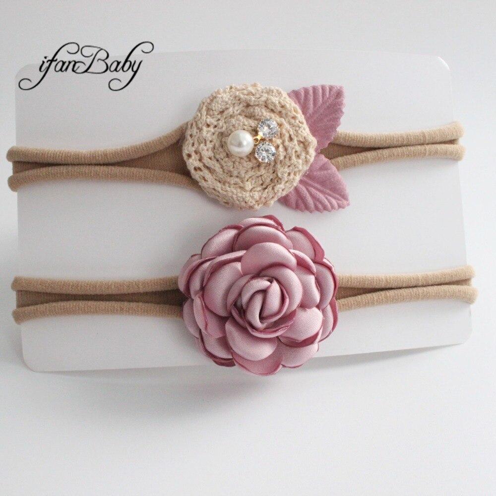 kids girl fabric flower headband nylon headband (6)