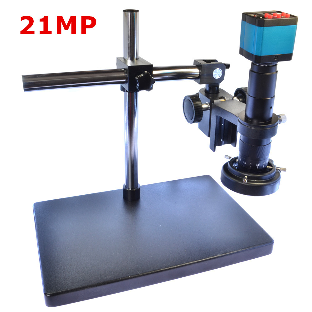 Full Set 21MP 2K 1080P HDMI USB Industrial Video Microscope Camera 180X C mount Lens 144 LED Light Boom Stand for PCB Soldering|Microscopes| |  - title=