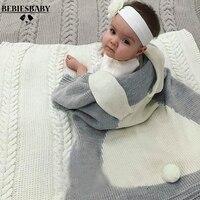 ผ้าห่มทารกสีชมพูสีขาวน่ารักกระต่ายสี